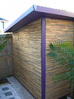 Garden shed made out of recycled fencing timber