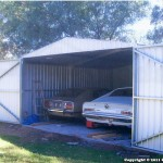 John Wallace – Vintage Cars Shed – Absco Compact Double Garage ZACOM5541BN 5.6m x 5.5m x 2.1m W41N3 (non cyclonic) with Double Barn Doors ZA