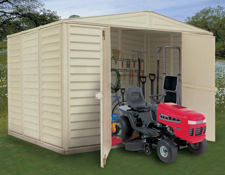 Duramax Vinyl Garden Sheds - garden shed with tools