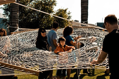 backyard invention - web-shaped hammock
