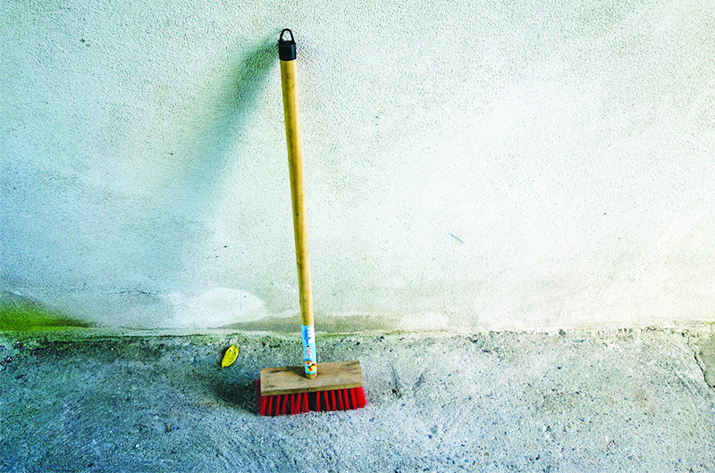 Clean Concrete - use dishwashing liquid and coarse mop